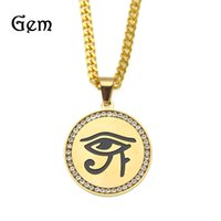 Wholesale freemason jewelry - Hiphop FreeMason Eye of Horus Pendant Necklaces Men Gold Plated Shield Pendants Hip-Hop Jewelry Cool Party Accessories