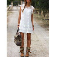 Wholesale lace sleeveless slim mini dresses - Vestidos 2016 Summer Elegant ZANZEA Women Casual Solid Short Sleeve Slim Lace Mini Dress Tops Ladies Sexy White Dress Plus Size