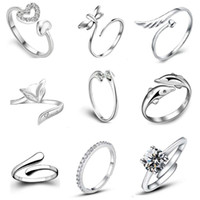 Wholesale three finger ring women online - Top Grade Silver Band Ring Hot Sale Crystal Finger Rings For Women Girl Party Open Size Jewelry Free Ship WH