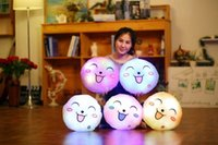Wholesale Face Pillows - 33cm Creative Light Up LED Smile Face Stuffed Plush Toy Colorful Glowing Simle Pillow Christmas Gift for Kids