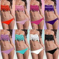 Wholesale Sexy Lady Girl Boho Bikini - SEXY girl & lady Padded boho fringe strapless dolly bikini Swimwear Beachwear bathing suit