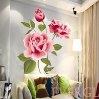 Wholesale Large Rose Wall Decal - Romantic Love 3D Rose Flower Removable Wall Sticker Home Decor Room Decals wall stickers home decor wall stickers TY1360