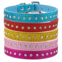 ingrosso fila del cane del collare-Collare per cani con strass colore rosa 1 fila di strass Collare per cani in pelle sintetica XS S M Prodotti per animali domestici