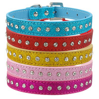 Wholesale dog collar diamante wholesale for sale - Pink Color Row Rhinestone Dog Collar Diamante Pet Collars Pu Leather XS S M Pet Products