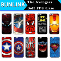 Wholesale Iphone 5s Captain America Case - Marvel Cartoon Superhero The Avengers Case Hulk Captain America Spiderman Superman Printed Soft TPU Back Cover for iPhone 6 6s 7Plus 5 5S se