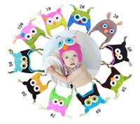 Wholesale Boy Monkey Beanie - Baby Girl Boy Owl Monkey Ear Flap Crochet Hat Children Handmade Crochet OWL Beanie Hat Handmade OWL Beanie Kids Hand Knitted Hat