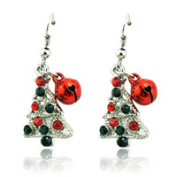 ingrosso gioielli campana-Moda Charms Natale orecchini placcato argento ciondola strass albero di natale campane orecchini per le donne gioielli decorazione