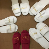 Wholesale Brides Slippers - White Red sculptured velvet wedding slippers for Bride and Bridesmaid gifts free shipping 1 pair lot wholesales