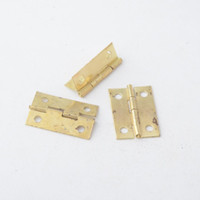 золото встык оптовых-Оптовая продажа-Бесплатная доставка 50 шт. золотой тон аппаратные 4 отверстия DIY Box Butt дверные петли (не включая винты) 24x16mm J3016