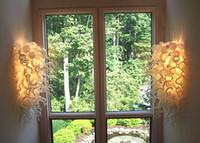 einzigartige produkt-designs großhandel-Neue Produkte Einzigartiges Design Kunstglas Wandleuchten Weiße Farbe Hochzeitsdekor LED Wandleuchten 100% Mundgeblasenem Glas Treppenhaus Wandleuchten