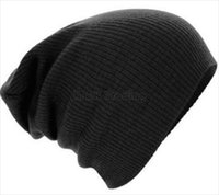 Wholesale Wholesale Hats Watch - 2017 New Slouchy Beanie Knit Soft Feel Ribbed Ski Caps 7 Colors Winter Men Skull Cap Outdoor Sport Watch Hat