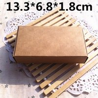 Wholesale Jewellry Gift Boxes Wholesale - 50pcs 13.3*6.8*1.8cm Brown Carton Kraft Box Wedding Gift Candy Boxes Soap Packaging Jewellry Packing Box