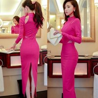 Wholesale Two Piece Bodycon Pencil Skirt - Slim back split Skinny two colors Dress Round Neck Long Sleeve Pencil one-piece Clothing Evening Clothing Party and Casual Skirt