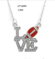Wholesale Slide Connectors - zinc alloy material rhodium plated link chain connector pendant letter clear crystal LOVE and enamel football charm necklaces