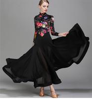Adult Girls Ballroom Dance Dress Modern Waltz Standard Competition Practice Dance Dress Black Small high collar Flower Printed Dress