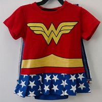 Wholesale Halloween Costume Toddler - Newborn Baby Girls Romper Baby Wonder Woman Costumes Toddler With Cloak Embroidery Cotton Short Sleeves Summer