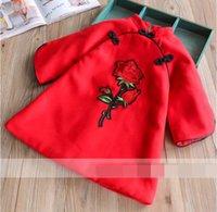 Wholesale Rose Cashmere - Winter Girls Dress Rose woolen cloth Thicken New Year Cheongsam Dress Children Clothing 2-7T 319617