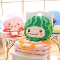 Wholesale Lovely Pink Cushions - Wholesale- Super Cute 1Pc 45Cm Lovely Fruit Plush blanket (100x150Cm) Kawaii watermelon Peach Orange strawberry Plush cushion creative gift
