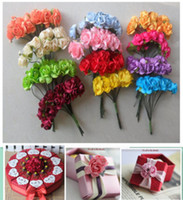 Wholesale Make Paper Christmas Decorations - hristmas decoration glass Paper Flowers ,Wedding decoration , Mini Rose Flower Hand Made Small Wedding Bouquet Scrapbooking Christmas Dec...