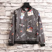 Wholesale Long Sleeve Woven - Luxury Fashion Brand Long Sleeve print jacket Men Casual windbreaker hooded jacket Tiger printing Medusa silk jacket hoodies