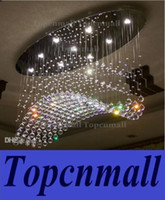 Wholesale Curtain Light Chandelier Crystal - Free shipping oval curtain wave modern chandeliers crystal lamp living room lamp hotel lighting size:L750*W250*H650mm