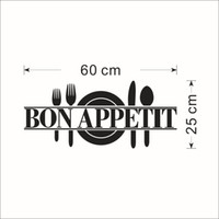 palabras de fondo de pantalla al por mayor-Palabras negras Bon Appetit Art Mural Kitchen Room Decoration Sticker Dinner Room Wallpaper Decoration Classic Vajilla Home Decor Poster