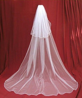Wholesale Cheap Cathedral Wedding Veils - Simple Cathedral Length Wedding Bridal veil with Comb 2 Layer Soft Tulle Cheap Veils Wedding Accessories Bridal Veils for wedding