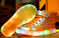 Wholesale Outdoor Led Dmx - fashion kids sneakers Hot Selling New 2018 Fashion Wings Children Sneakers gold Black Kids Light Shoes High Top Boy Girl luminous Led Shoes