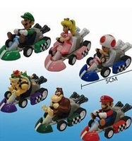 Wholesale Mario Karts - 6pcs set Super Mario Bros Kart Pull Back Cars Karts Figures Doll Toys PVC Action Figure Collections Christmas Gifts