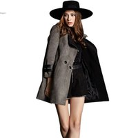 Wholesale Winter Trenchcoat - Hot Sale Women Long Winter Coat Slim Large Lapel Neck Casual Trenchcoat Femininas Solid Double Breasted Outwear Waistband #k