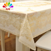 Cubiertas De La Tabla Rectangular De La Boda Baratos-TLFE Europa plástica de la boda del oro Mantel Rectangular Table Cloth Cubierta rectangular HomeGarden toalhas de mesa ZB009
