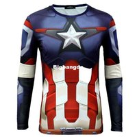 1215 Mondiale Debutto Uomini Estate manica lunga T-shirt Marvel DC Comics The Avenger 2 The Age Of Ultron Capitan America Cosplay Top