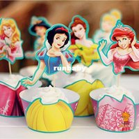 Wholesale Snow White Cake - 144pcs Snow white Jasmine cupcake wrappers kids birthday party favors festa cake toppers baby shower party supplies AW-0047