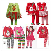 Wholesale New Year Christmas Cartoon Outfits Girls Christmas Clothing Sets Elk Snowman Santa Claus Long Sleeve T Shirt and Cotton Pants pc Set K5508