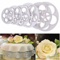 Wholesale Gum Paste Cake - Wholesale- DAY DAY FUN 2017 1Set 6PCS Free Shipping Fondant Cake Sugarcraft Rose Flower Decorating Cookie Mold Gum Paste Cutter Tool xTE