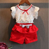 Wholesale European Style Blouses - New 2015 Summer fashion Girl lace white blouses+ shorts clothing set kids clothes sets twinset TZX144
