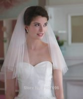 Wholesale Elbow Wedding Veils - 2016 In Stock Two Layers Short Soft Tulle Cut Edge Wedding Veils with Comb Cheap Bridal Accessories New Arrival