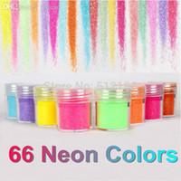 parlak toz tozu toptan satış-OTS062 (24), 66 Neon Renk Metal Parlak Glitter Pullu Toz Nail Deco Sanat Kiti Akrilik Toz Seti (2.9 * 2.5 cm)