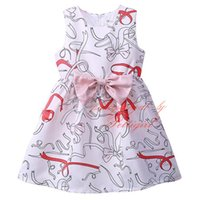 Pettigirl Hot Selling Girls Dresses Impresso com flores White Bow Kids Dress Wholesale Baby Wear GD81022-119Z