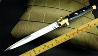 Wholesale Ox Bone Knife - New 13 inch Italy AKC knife black ox horn handle Godfather Stiletto 440C steel blade Mirror polish finish survival outdoor gear B75L