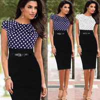Wholesale Blue Polka Dot Skirt - Wholesale European and American star with stitching dresses, new cocktail pencil skirt, professional Party dress Work Dresses with belt