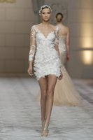 Wholesale Zip Front Mini Dress - 2015 Sexy Short Wedding Dresses 3 4 Sleeve V-Neck Appliques Lace Sheath Mini Bridal Gowns Zip Back Custom Made