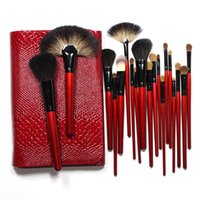 Wholesale Goat Pony Hair Makeup Brushes - Professional Makeup Brushes Set 26 Pieces Goat Pony Hair with Crocodile Lether Red Bag Top Grade Most Gorgeous !