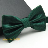 Wholesale Red Bow Tie For Men - Wholesale- 1pc Dark Green Grid Bow ties Emerald Color Cravat For men Grooms Bowtie Polyester Butterfly Brand Gravata Wedding Party
