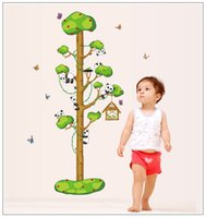 Wholesale free wallpaper for walls for sale - Group buy 50 cm Tree Panda Wall Stickers DIY Kids Height Chart Wallpaper Baby Room Quality SGS Removable PVC Free Ship