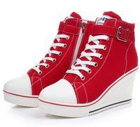 Wholesale High Heel Platform Sneakers - Women Girls High Top Canvas Wedge Heel Lace Up Platform Sneakers Buckle Shoes