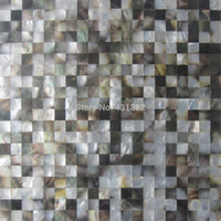 Wholesale Wholesale Black Mosaic Tile - Blacklip mother of pearl tiles;15X15; backsplash kitchen bathroom mirror tile backspalsh wall shell mosaics mother of pearl tile