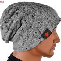 Wholesale Skull Top Womens - Top Winter Reversible Beanie Men Hats Womens Stars Print Snow Caps Knit Hat Skull Chunky Baggy Warm Skullies Touca Gorro Colors Hat SV028434