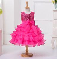 Wholesale Korean Skirts Pictures - flower girl dress foreign trade New pattern Korean Girl princess Dress sleeveless paillette children Bow Short sleeve Full dress skirt