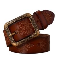 Wholesale High Quality Leather Belt Women - High quality metal genuine leather Cowskin pin buckle designer brand belt for women jeans vintage fashion dresses accessories